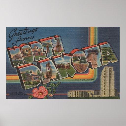Dakota del Norte (Capital del Estado/flor) Póster