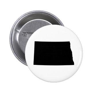 Dakota del Norte en blanco y negro Pin Redondo De 2 Pulgadas