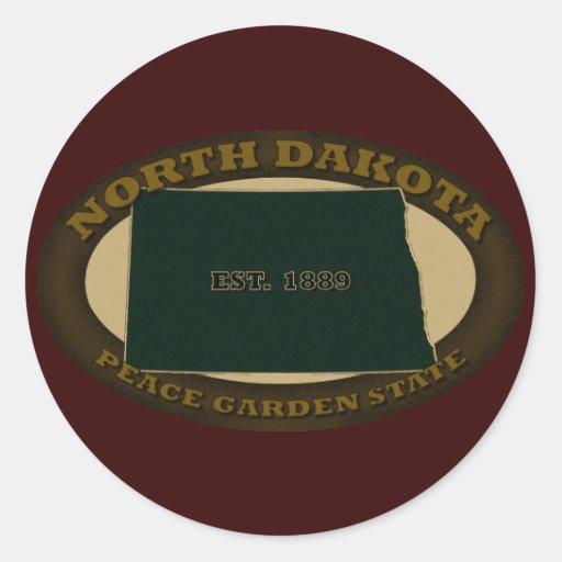 Dakota del Norte Est. 1889 Pegatina Redonda