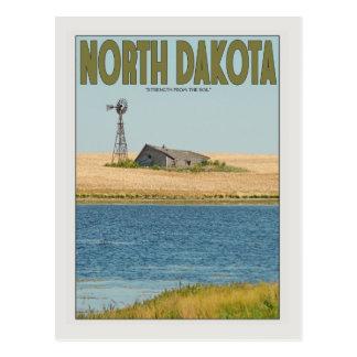 Dakota del Norte - granja vieja - verde Postal