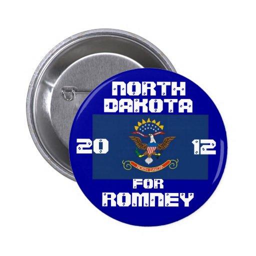 Dakota del Norte para Romney 2012 Pin