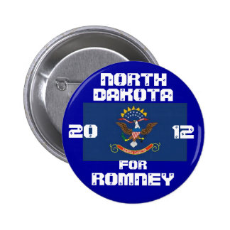 Dakota del Norte para Romney 2012 Pin Redondo 5 Cm