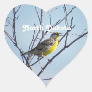 Dakota del Norte Pegatina En Forma De Corazón