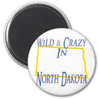 Dakota del Norte - salvaje y loco Imán Redondo 5 Cm