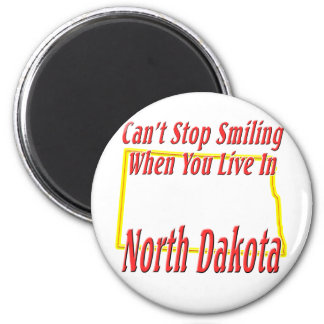 Dakota del Norte - sonriendo Imán Redondo 5 Cm