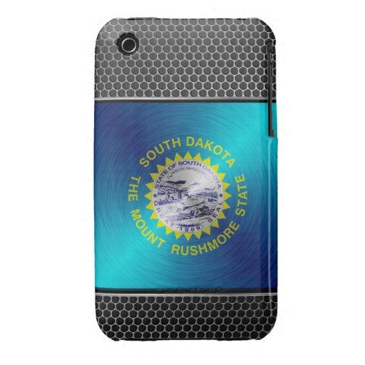 Dakota del Sur cepilló la bandera del metal iPhone 3 Case-Mate Cárcasa