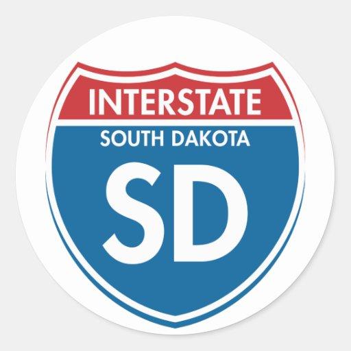 Dakota del Sur de un estado a otro SD Etiqueta Redonda