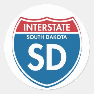 Dakota del Sur de un estado a otro SD Pegatina Redonda
