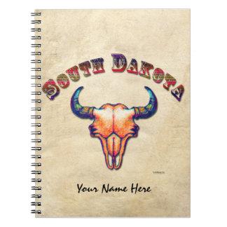 Dakota del Sur raya el cráneo del búfalo Notebook