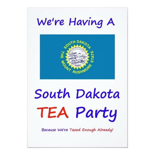 """DAKOTA DEL SUR T.E.A. PARTY INVITATIONS INVITACIÓN 5"""" X 7"""""""