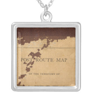 Dakota Territory post route map Silver Plated Necklace