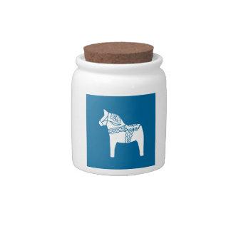 Dala Horse Blue Candy Jar