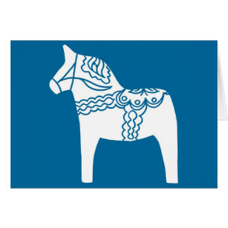 Dala Horse Blue Greeting Card