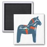 Dala Horse Blue Modern Art Sweden 2 Inch Square Magnet