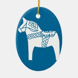 Dala Horse Blue Double-Sided Oval Ceramic Christmas Ornament