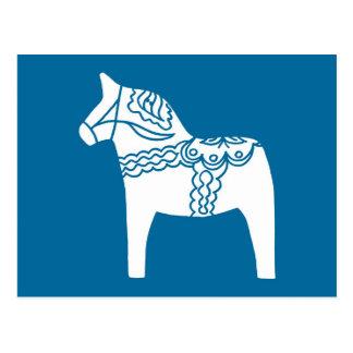 Dala Horse Blue Post Card