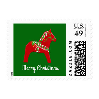 Dala Horse Christmas Stamp