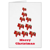 Dala Horse Christmas Tree Card