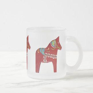 Dala Horse Frosted Glass Mug