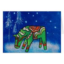 Dala Horse III Christmas Card