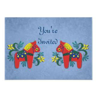 "Dala Horse Party Invitation 5"" X 7"" Invitation Card"