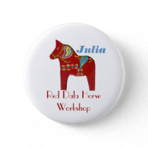 Dala Horse Personalized Name Tag Button