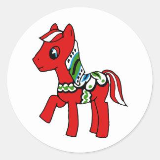 Dala Horse Pony Classic Round Sticker