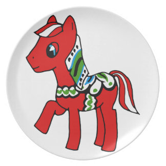 Dala Horse Pony Dinner Plate