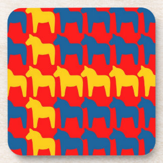 Dala Horse Red Flag Beverage Coaster