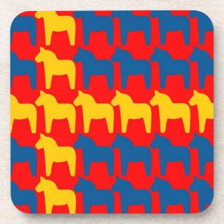 Dala Horse Red Flag Beverage Coaster