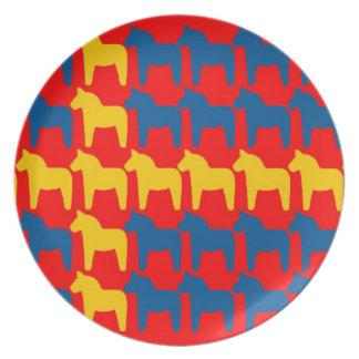 Dala Horse Red Flag Dinner Plate