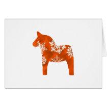 Dala Horse Snowflake Card