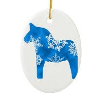 Dala Horse Snowflake Ceramic Ornament