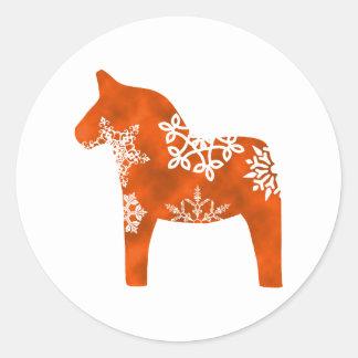 Dala Horse Snowflake Classic Round Sticker