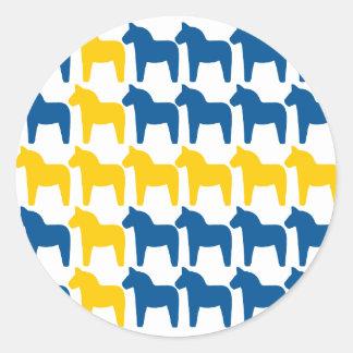 Dala Horse Sweden Flag Classic Round Sticker