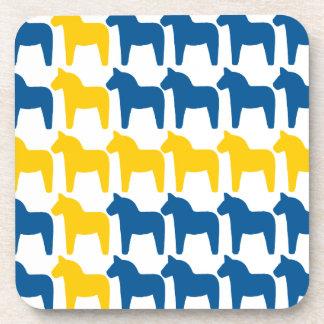 Dala Horse Sweden Flag Drink Coaster