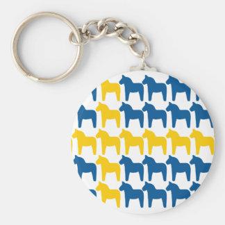 Dala Horse Sweden Flag Keychain