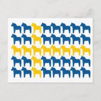Dala Horse Sweden Flag Postcard