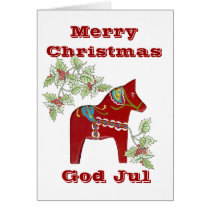 Dala Horse Swedish Christmas Card