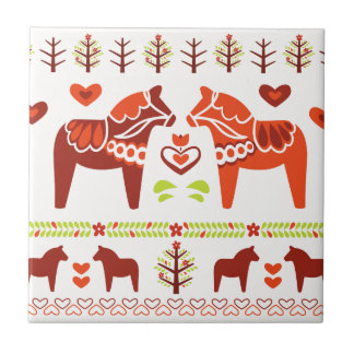 Dala Horse Ceramic Tile