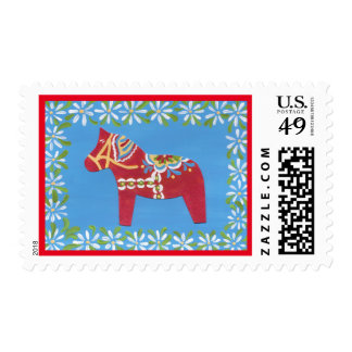 Dala Horse with daisy border postage stamp