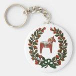 Dala Horse Wreath Basic Round Button Keychain