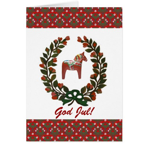 """Dala Horse Wreath: God Jul!"" Cards"
