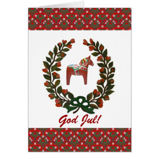 Dala Horse Wreath God Jul Merry Christmas Greeting Card