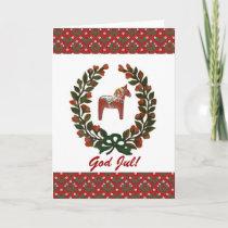Dala Horse Wreath God Jul Merry Christmas Holiday Card