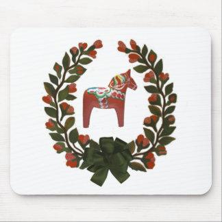 """Dala Horse Wreath"" Mouse Pads"