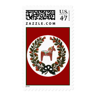 Dala Horse Wreath Postage Stamp