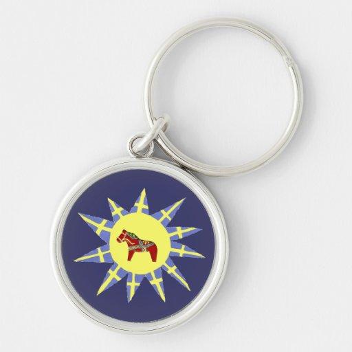 Dala Horses and Swedish Flags Keychain
