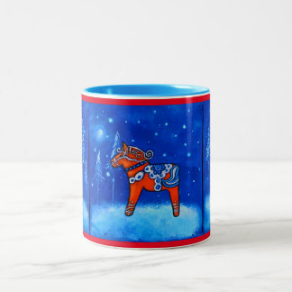 Dala Horses in Winter Mug