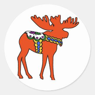 Dala Moose Classic Round Sticker